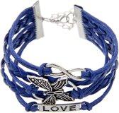 Fako Bijoux® - Multi Armband - Infinity Vlinder Love - Donkerblauw