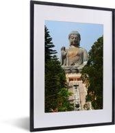 Foto in lijst - De trap die naar de Tian Tan Boeddha loopt fotolijst zwart met witte passe-partout klein 30x40 cm - Poster in lijst (Wanddecoratie woonkamer / slaapkamer)