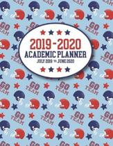 2019 - 2020 Academic Planner July 2019 to July 2020: GO TEAM Football Themed Planner Organizer Red vs Blue - Includes Important Holidays - USA Red Whi