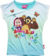 Masha-and-The-Bear-T-shirt-met-korte-mouw-turquoise - Maat 116