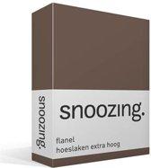 Snoozing - Flanel - Extra Hoog - Hoeslaken - Eenpersoons - 90/100x220 cm - Taupe