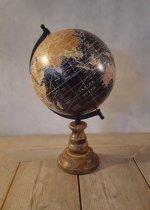 Decoratie wereldbol Op Voet 25 cm Zwart