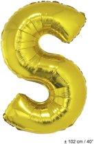 Grote goudkleurige letter S ballon - Feestdecoratievoorwerp
