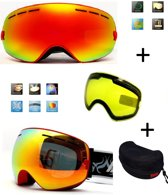 5b328a06dee8ed Ski   Snowboard bril   Goggle met EXTRA lens Smoke red frame Rood F type 1