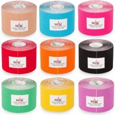 Nasara Kinesio tape - mix kleuren | 12 st | Huidvriendelijk | Sporttape