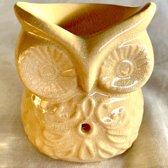 Aromabrander oliebrander uil 3#  Creme keramiek voor geurolie of wax smelt.