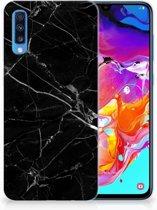 Samsung Galaxy A70 Hoesje TPU siliconen Marmer Zwart