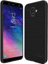Brushed Backcover hoesje voor Samsung Galaxy A6 2018  - Zwart