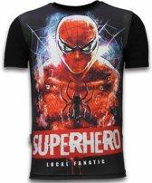 Local Fanatic Superhero - Digital Rhinestone T-shirt - Zwart - Maten: L