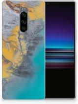Sony Xperia 1 TPU Hoesje Design Marble Blue Gold