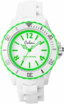 Colori White Summer 5 COL400 Horloge - Siliconen Band - Ø 44 mm - Wit / Groen