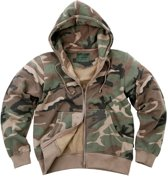 Fostex Hooded sweater met rits woodland camo
