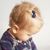 Donkerblauwe baby haarspeldjes met strik