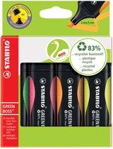 10x Stabilo markeerstift GREEN BOSS, blister a 4 stuks: groen, roze, oranje en geel