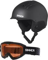 Sinner Combi-Pack ( Pincher + Lakeridge ) Unisex Skihelm & -bril - Matte Black - S/56 cm