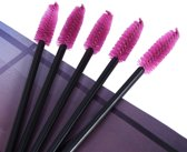 50x disposable eye brush roze/zwart wimperborstel