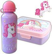 Broodtrommel + drinkfles Unicorn   Lunchbox Eenhoorn kinderen LS03