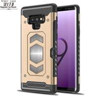 Ntech Samsung Galaxy Note 9 Luxe Armor Case met Pashouder - Goud