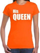 His queen t-shirt oranje met witte letters voor dames - Koningsdag - fun tekst shirts / leuke t-shirts 2XL