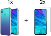 Huawei P Smart (2019) Siliconen Hoesje - 2x Tempered Glass Screenprotector - Extra Stevige Randen - Transparant - van Bixb