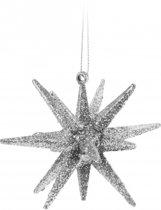 3D ster zilver met glitters 7 cm - Kerstboomversiering