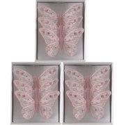 Vlinders Glitter (12cm) Box 9 stuks Pink