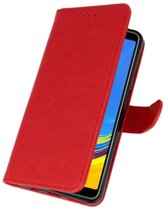 Rood Bookstyle Wallet Cases Hoesje voor Samsung Galaxy A7 2018