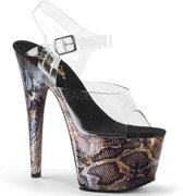 EU 39 = US 9 | ADORE-708SP | 7 Heel, 2 3/4 PF Ankle Strap Sandal w/ Snake Skin Print