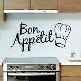 Muursticker tekst Bon Appetit - Muursticker keuken - Keuken muursticker - Muursticker eetsmakelijk - Afmeting L30 x B15 cm