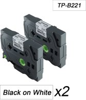 2x Brother Tze-221 TZ-221 Compatible voor Brother P-touch Label Tapes - Zwart op Wit - 9mm