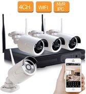 CCTV Bewakingscamera set draadloos met 4 camera's buiten en binnen + 1TB Harde schijf