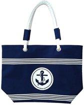 Damestas strandtas Calais met maritiem print 58 cm - Dames handtassen - Shopper - Boodschappentassen