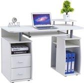 Piranha TETRA Bureau / Computerbureau - Wit Houtnerf - Laden - Opslagruimte - PC 5s
