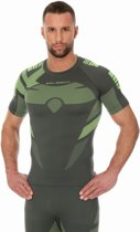 Brubeck | Heren DRY Thermoshirt -  Sport Ondershirt / Baselayer - Light - Grafiet/Lime - XL - Korte Mouw -