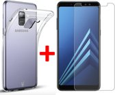 Transparant Hoesje voor Samsung Galaxy A8 (2018) Soft TPU Gel Siliconen Case + Tempered Glass Screenprotector Transparant