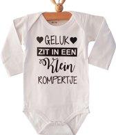Baby unisex Romper zwangerschap Geluk zit in een klein rompertje | Lange mouw | wit | maat 62-68