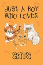Just A Boy Who Loves Cats: Cat Gifts: Novelty Gag Notebook Gift: Lined Paper Paperback Journal