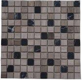 Mozaiek tegel marmer 30x30 grijs/zwart