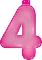 Opblaas cijfer 4 roze