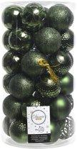 Christmas Dark Green Kerstballen - 6 cm - Plastic - 37 stuks