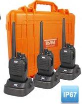Team Tecom IP-DA32 analoge-digitale PMR446 3-voudige portofoonkofferset