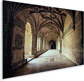 Gangen in het Jerónimos-klooster Plexiglas 90x60 cm - Foto print op Glas (Plexiglas wanddecoratie)