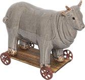 Koe op wielen 25*12*20 cm Grijs | 6CE0933 | Clayre & Eef