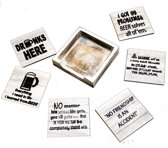 Originele grappige set onderzetters, 6 stuks met een houder van FSC-gecertificeerd hout