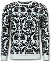 UNIMAN Flockprint Trui - Bladeren Sweater Heren - Wit - Maten: L