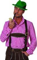 Tiroler blouse roze/wit geblokt voor heer