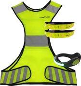 Tunturi - Verlichting en reflectie set - LED - 4 Delig - Maat L - Hardloopvest - Jogging reflectie vest - Hardloop verlichting