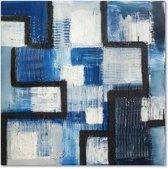 Schilderij - Abstract in het blauw, 1 deel