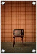 Tuinposter –Ouderwetse TV– 60x90cm Foto op Tuinposter (wanddecoratie voor buiten en binnen)