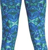 Legging groen-blauw met digitale steampunk print